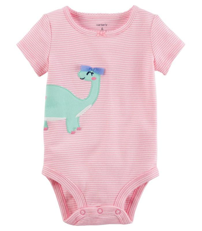Боді з коротким рукавом рожевий з динозавром