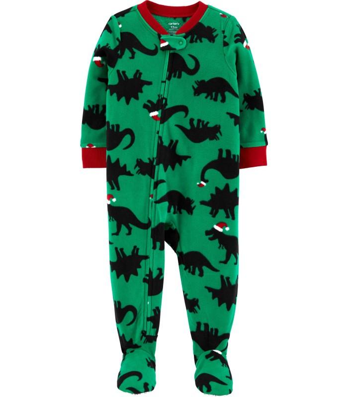 Чоловічок флісовий зелений з динозаврами