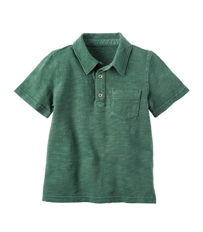 Футболка-поло зелена з кишенькою