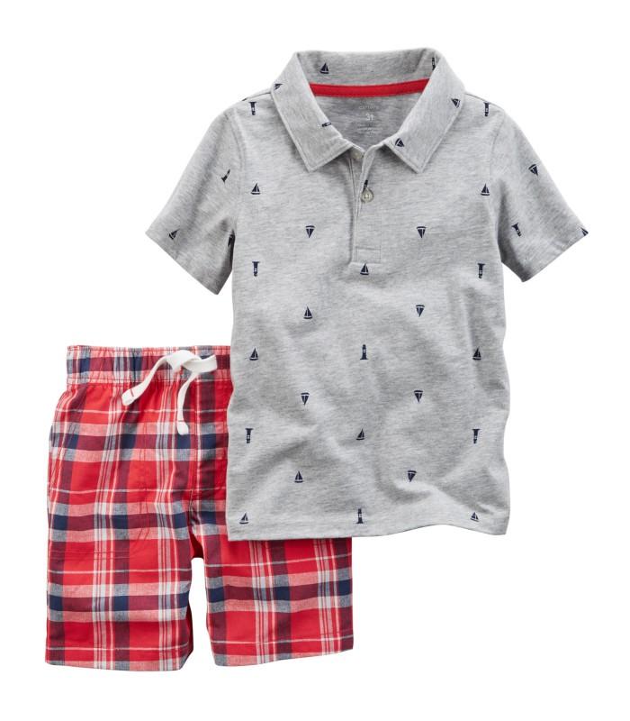 Комплект 2 в 1 шорти і футболка-поло червоно-сірий