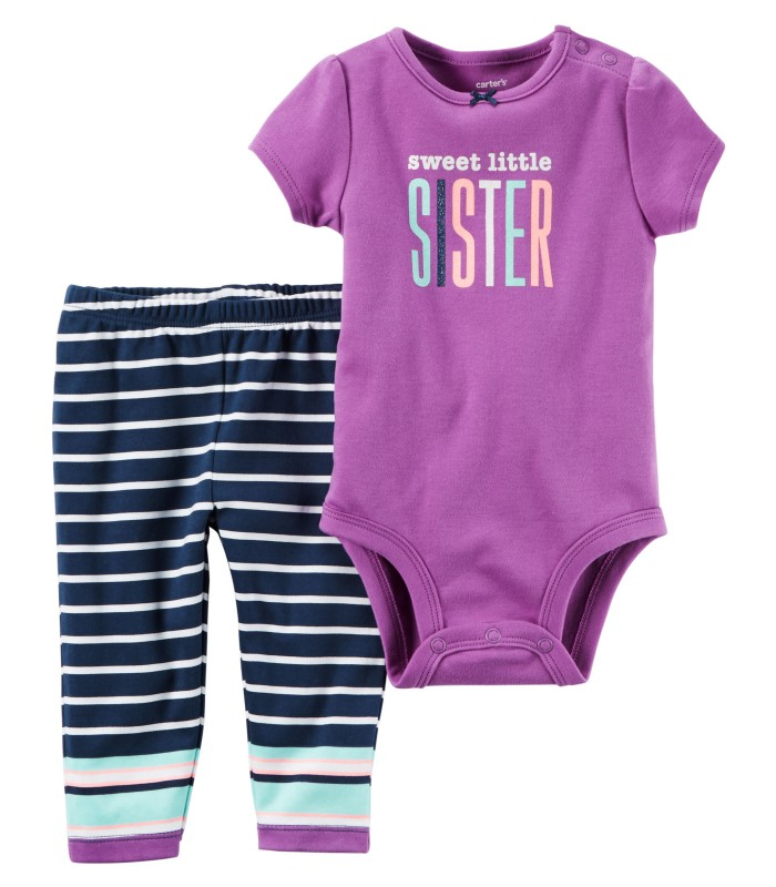 Комплект 2 в 1 штани і боді фіолетовий