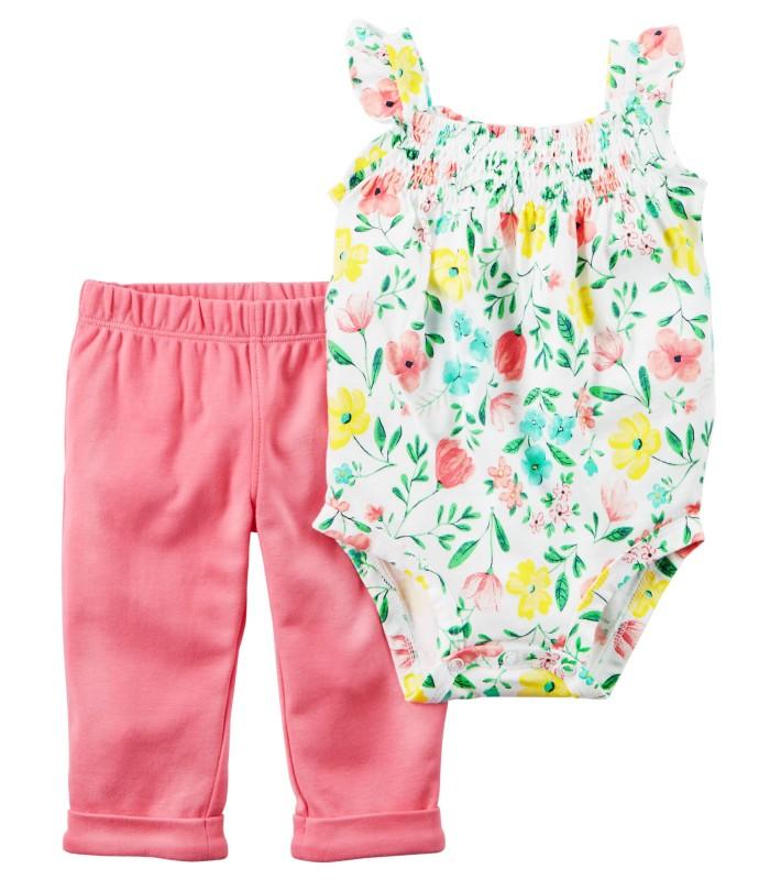 Комплект 2 в 1 штани і боді-маєчка в квіточку