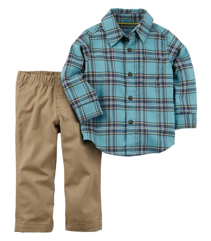 Комплект 2 в 1 штани і сорочка синя картата