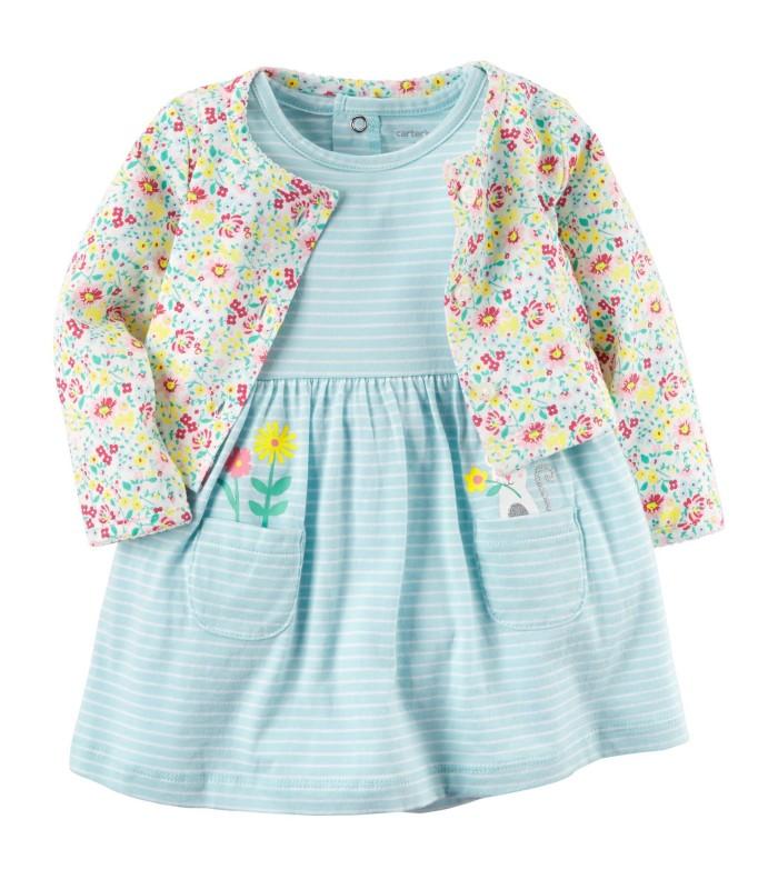 Комплект 2 в 1 сукня і кардиган блакитний квітчастий
