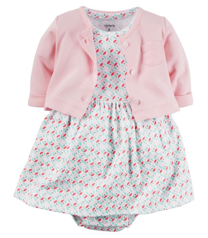 Комплект 2 в 1 сукня і кардиган рожево-бірюзовий