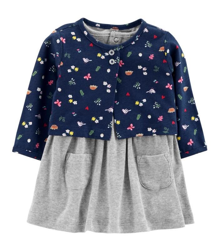 Комплект 2 в 1 сукня і кардиган сіро-синій