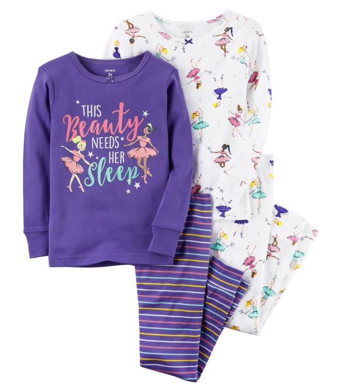 Комплект-піжама з балеринами фіолетова