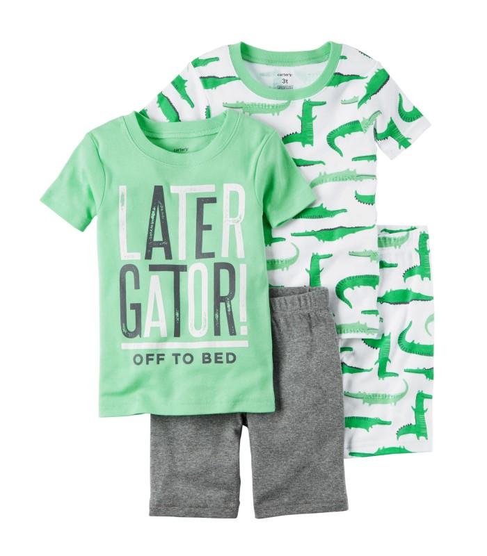 Комплект-піжама зелений з крокодилом