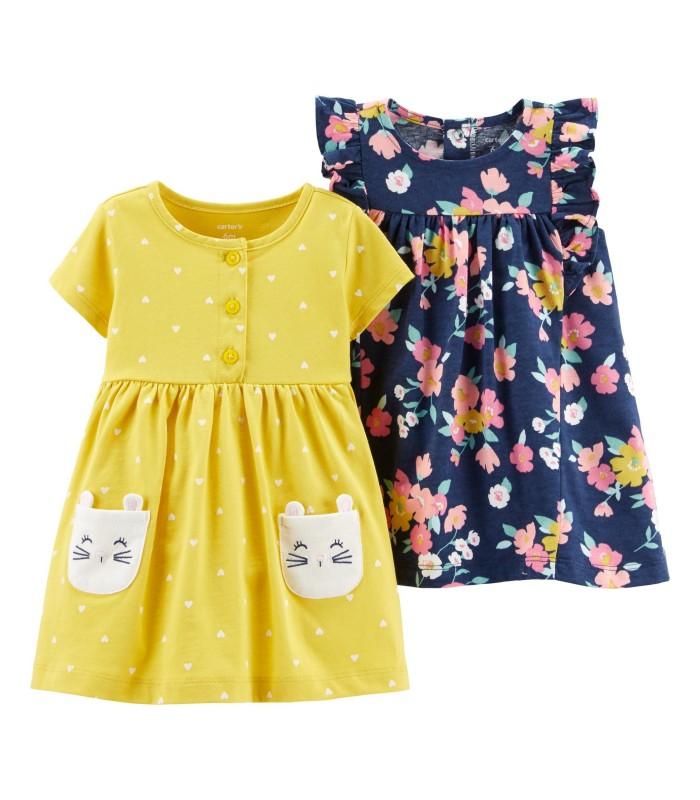 Набір сукня жовта і квітчаста