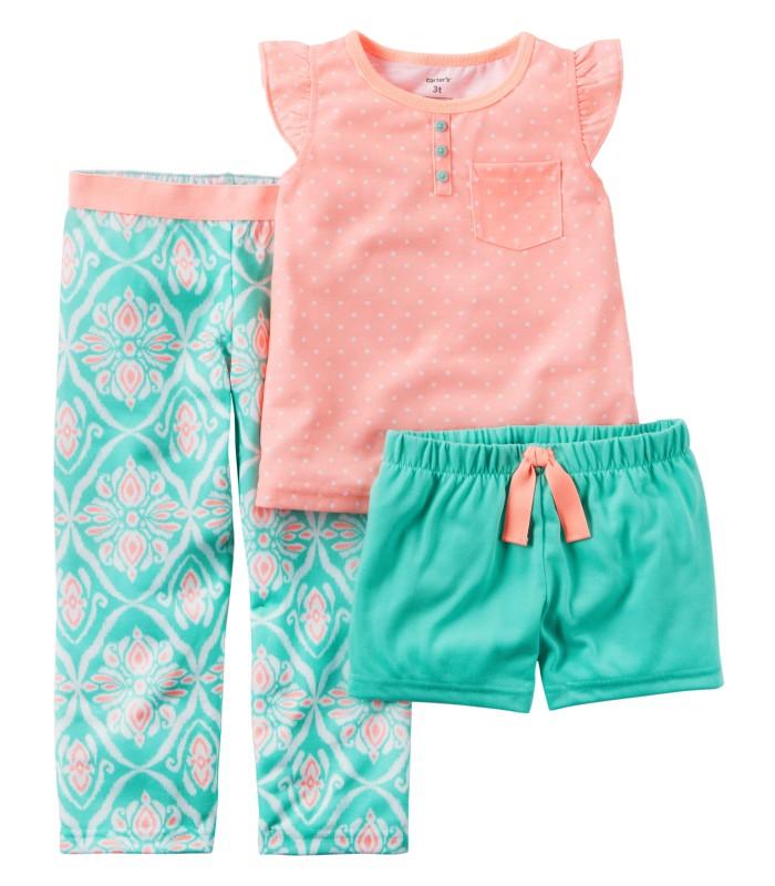 Піжама для дівчинки рожево-зелена