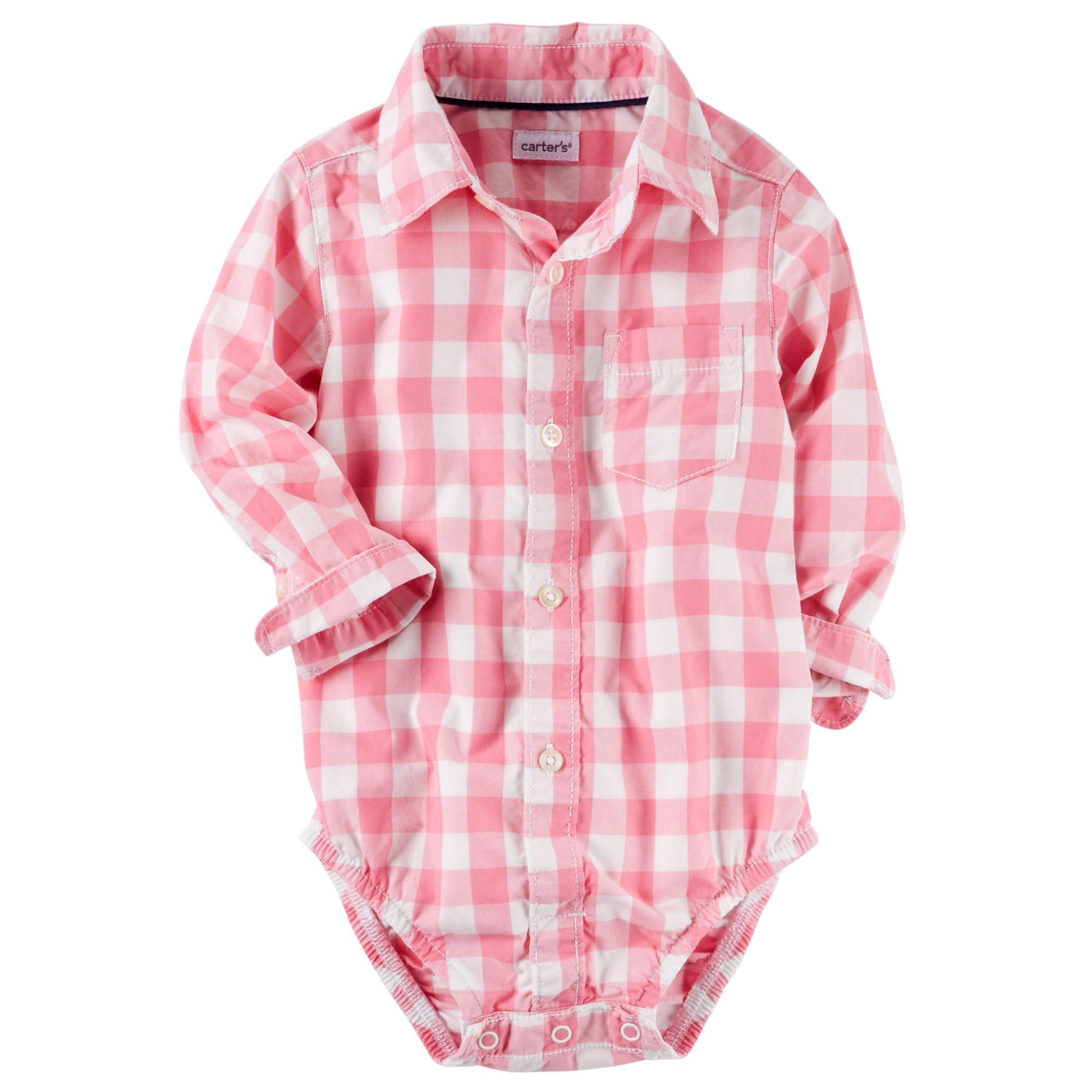 Сорочка-боді рожева картата  656e810309e10