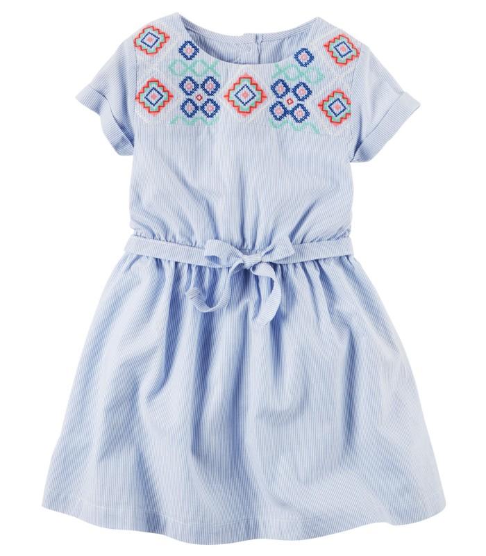 Сукня блакитна з вишитим орнаментом
