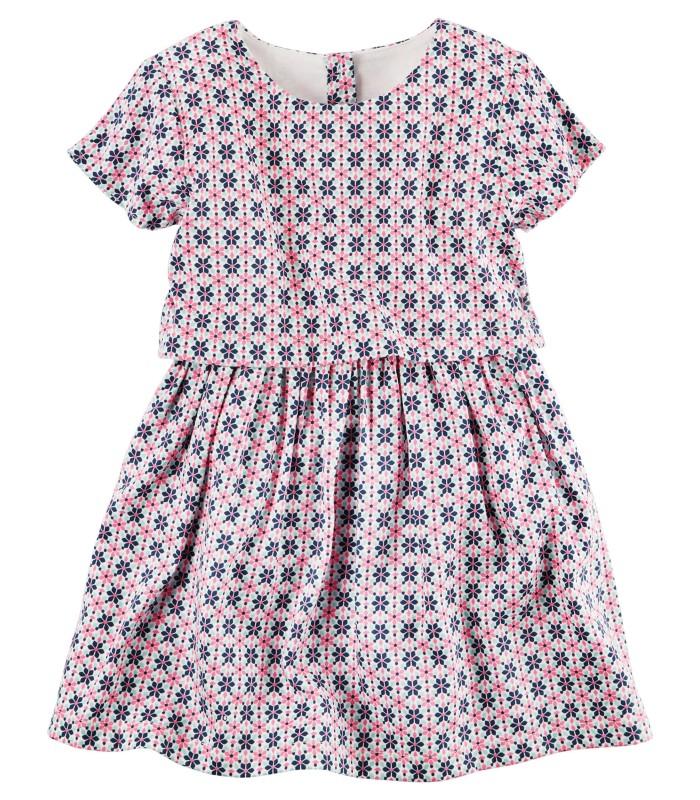 Сукня в орнамент сіро-рожева